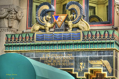 Upper West Side-1 (like an Egyptian) (albyn.davis) Tags: architecture detail nyc newyorkcity colors green gold sculpture decoration deco blue city urban egyptian