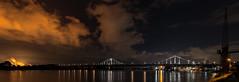 The Bridge.... (st.weber71) Tags: langzeitbelichtung lzb lichter illumination wasser rheinland rhein krefeld uerdingen brücke bunt beleuchtung nikon nrw nachts nightshot nacht nightlights nachtfotografie d800 deutschland germany wolken architektur duisburg