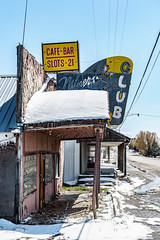 Miner's Club (garshna) Tags: cafe bar neon decayed decaying abandoned club miners snow sky spring mountaincitynevada