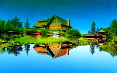 """""""Head over heels"""" in love with this summer view (peggyhr) Tags: peggyhr summer reflections lake trees loghouse boats dock gazebo umbrellas red green blue brown white yellow flowers dsc07317a bluebirdestates alberta canada groupecharliel1 niceasitgets~level1 groupecharliel2 niceasitgets~level2 thelooklevel1red visionaryartsgallerylevel1 frameit~level01~ musictomyeyes~l1 niceasitgets~level3 thelooklevel2yellow thegalaxy thegalaxystars thelooklevel3orange thegalaxystarshall0ffame groupecharliel3 niceasitgets~level4 groupecharliel4 thegalaxyhalloffame"""