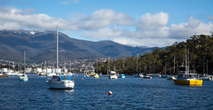 Songs about Magic (Keith Midson) Tags: hobart geilstonbay tasmania mtwellington snow winter bay boats yachts harbour water derwentriver clouds