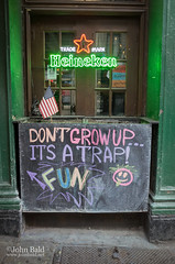 It's A Trap! New York City (130492) (John Bald) Tags: heineken manhattan nyc newyork newyorkcity ricohgrii bar chalkboard doorway fun funnysign growup pub sidewalk sign trap welcoming
