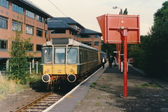 19960811 001 St Albans Abbey. Pressed Steel Class 121 DMBS 55023 Heads The 08.44 To Watford Junction (15038) Tags: railways trains br britishrail diesel dmu class121 pressedsteel stalbansabbey 55023