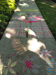 We beautified the sidewalk (Ruth and Dave) Tags: mountpleasant vancouver pavement chalk art pattern leaves colours colourful sidewalkchalk decorated