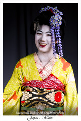 Japan - Maiko (Kurokami) Tags: toronto ontario canada kimono japan japanese asia asian woman women girl girls lady ladies traditional kitsuke maiko geiko geisha hikizuri susohiki furisode darari maru susoyoke okobo nihongami katsura wig tsumami kanzashi folded flower flowers floral hair ornament ornaments kikyou chinese bell haneri butterfly chou grass green kofuji 2017 anime north fashion show