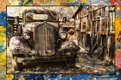 Monochrome in color... (Howard Brown Photographic) Tags: dodge brothers pickup truck hdr 1936 36 jerome arizona az king gold mine junk yard digital art digitalarl digitalart photoart photo texture