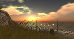 Easy Like Sunday Morning (AmberLyndhurst) Tags: lionelrichieeasylikesundaymorning lionelrichie easylikesundaymorning secondlife second life grass sky sea breeze waves wind chair chairs lights lighting decking cattails sunset sunrise sun wine bottles winebottels
