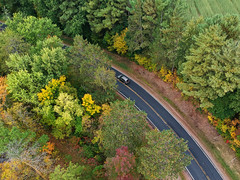 (Daniel000000) Tags: tree trees road highway roads car driving travel fall colors autumn wisconsin midwest usa drone dji djispark spark uav green colorful country countryside northwoods
