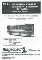 X63 Faversham Express 1994 (Faversham 2009) Tags: stagecoach 1994 scan x63 timetable scanned document stagecoachineastkent eastkent bus buses faversham davington