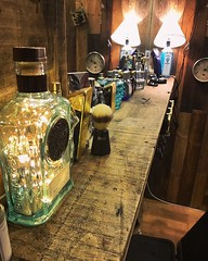 WattBottles at Tony's Barbershop (Wattbottles) Tags: steampunk retro rustic decor upcycled crafts handmade etsy lamp light interior design present bottle mancave decoration art creative vintage barbers barbershop music bombay sapphire gin jack daniels copper whisky bronze wood