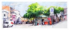 Faro - Algarve - Portugal - pr. Alexandre Herculano (guymoll) Tags: faro portugal algarve usk urbansketchers croquis sketch aquarelle watercolour watercolor kiosque place largo