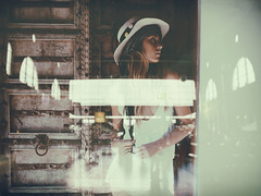 """ la ."" (helmet13) Tags: iphone6s shopwindow windowshopping poster fashion woman model windowreflection zurichmainstation concourse procam5 aoi world100f 200faves"