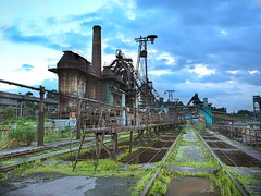factory (MiaouPazz) Tags: steampunk factory rundown broken sky light building blue exterior metal china