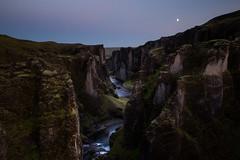 Fjaðrárgljúfur (Olli Tasso) Tags: canyon kanjoni moon sunset landscape scenery dramatic river flow mountain ridge rock dark evening outdoors travel matkailu islanti iceland hiking fjaðrárgljúfur