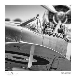 Charlie Brown - Spitfire Pilot with handlebar moustache.
