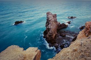 Jagged sea rock
