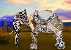 Clockwork Elephant (ICARUSISMARTDESIGNS) Tags: trendy vintage fantasy landscape mythology elephant clockwork africa serengeti sciencefiction art digital painting future animals ecology cool modern time popular artist contemporary color retro geek nature machines clouds grassland blue computer technology earth planet extinction pattern vivid evolution mammals trunk tusks world
