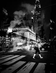At Night, Feeling The City's Vibes (a g n è s) Tags: street monochrome smoke city road light blackandwhite people car urban vehicle downtown motion newyork night