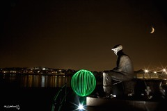 Fisherman`s Green (night watch1) Tags: bay beach cap fisherman fishermansgreen green harbour light lightpainting line look looking night north orb out reflection sea shields shore smoking south star trawlermonument moon orange
