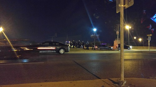 Police in riot gear in St. Louis at 64/40 and Kingshighway