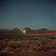 (patrickjoust) Tags: tlr twin lens reflex 120 6x6 medium format c41 color negative film cable release tripod long exposure night after dark manual focus analog mechanical patrick joust patrickjoust southwest usa us united states north america estados unidos rural super ricohflex kodak portra 160 navajo nation monument valley tsé bii' ndzisgaii arizona az utah ut desert butte star car light trails