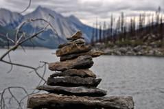 1708010249 (pixelarized) Tags: medicine lake canada medicinelake mountains alberta jasper jaspernp nationalpark grey meer bergen grijs steenmannetje stapel stack stones stenen