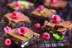 Brownie with raspberry (Speleolog) Tags: brownie tasty food sweet delicious dessert cake chocolate dark homemade pastry berry gourmet pie piece raspberry brown background snack bakery cocoa cooking wooden bake fresh slice closeup mint treat appetizing square sugar fruit rustic healthy decoration baked plate holiday summer cookies top cook eating red view christmas diet rich portion