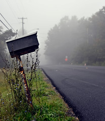 Foggy Morning (♤♤♤Happy Autumn Equinox♤♤♤) Tags: theflickrlounge alongtheroadside wk38 road fog misty mailboxs