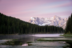Paradise (CreArtPhoto.ro) Tags: dolomiti sunrise water reflections peaks quiet fir misurina snow paradise lac munti dolomites padure firtree trees pink rasarit clouds morning fog grass mountains lake meditation