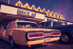 Route 66 Restaurant (Mr. Greenjeans) Tags: car yellowcar restaurant route66restaurant hss slidersunday crossprocessed santarosa newmexico americana signage cafe thunderbird