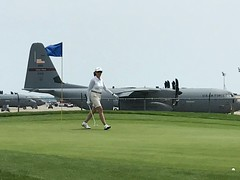 Golfing distractions (leehobbi) Tags: wife spouse golf putting green air force plane transport rhodeisland northkingston