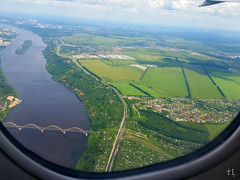 Flight over my Homeland (gráce) Tags: airscape flight plane view viewport horizon scape nizhnynovgorod russia oka okariver river bridge mobile mobilephotography samsunggalaxys5 samsung