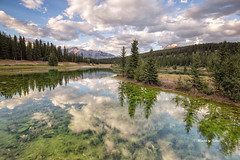 Cascade Ponds Evening (Explore Aug 23 2017) (Canon Queen Rocks (1,730,000 + views)) Tags: water lake cascadeponds ponds reflections sky scenery scenic landscape landscapes mountains nature mountain nationalpark banffnationalpark clouds colours canada rockies trees momentsbycelinecom