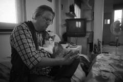 _DSC5159 (Oleg Green (lost)) Tags: friends guests people province home music studio voigtlander heliar 15mm bw blackandwhite raw manual hyperfocal apsc nex portrait man old hippy professor philosophy koryakovtsev