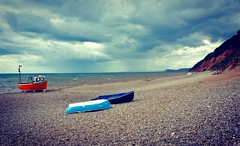 Three Boats (Nige H (Thanks for 10m views)) Tags: nature landscape beach devon boats coast coastline branscombe england sky cloud stormyweather