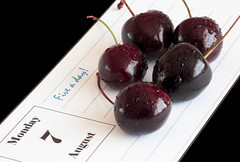 MM - Staying Healthy - Five a Day (Julian Chilvers) Tags: stayinghealthy macromondays fiveaday diary cherry macro