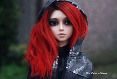 Attention (pure_embers) Tags: pure embers resin bjd 13 sd doll dolls ns uk girl elfdoll soah rainy soahrainy pureembers pureemberscrimson crimson photography photo ball joint portrait red hair gothic dark hoodie
