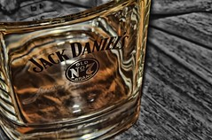 ~ dry glass ~  ゴールド (隠された ~ cwatts@nikonshoot.dx.am) Tags: macro black white glass drunk drinking whiskey manipulation one colour gold wood photoshop d5300