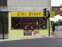 City Diner (chrisinplymouth) Tags: cafe diner eaterie takeaway plymouth devon england uk cw69x citydiner corner window takeout yellow urban food fastfood plymgrp