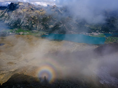Just me in a rainbow (Funkraft) Tags: corvatsch silvaplana switzerland rainbow grisons lake clouds outdoor mountains swiss alps stmoritz natural phenomenon