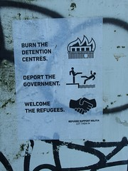 Burn . Deport . Welcome (mkorsakov) Tags: dortmund nordstadt hafen graffiti tagging flyer zettel poster action antifa antira pictogram piktogramm