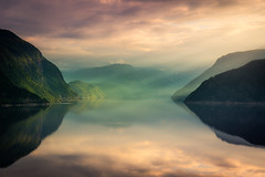 Tranquility (andreassofus) Tags: landscape nature grandlandscape mountains light sun sunbeams beams water mirror reflections clouds outdoor nopeople green beautiful fjord fjords norway sognfjordane stryn summer summertime travel travelphotography canon visitnorway scandinavia