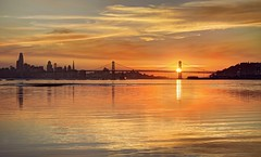 Sunset over water - it never gets old (PeterThoeny) Tags: middleharborshorelinepark oakland sanfrancisco california sanfranciscobay sanfranciscobayarea sanfranciscobaybridge baybridge bay water waves sunset sun cloud city downtown colors orange yellow bridge sony sonya7 a7 a7ii a7mii alpha7mii ilce7m2 fullframe fe2870mmf3556oss 3xp raw photomatix hdr qualityhdr qualityhdrphotography reflection waterreflection fav200 gold golden goldenhour cityscape