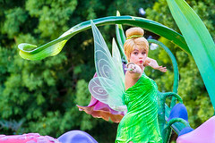Tinker Bell (EatThisLight) Tags: disney disneyland disneyparade parade disneycharacter character facecharacter soundsational fantasy girl pretty lovely color california anaheim magic fairy pixie green tinkerbell peterpan pixiehollow pixiedust wings wand shoot