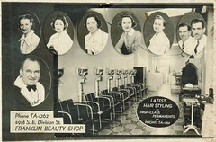 Advertisement for the Franklin Beauty Shop (sctatepdx) Tags: advertisement portlandoregon oregon beautyshop vintagebeautyshop franklinbeautyshop beauticians vintagehairdryer beautyparlor vintagebeautyparlor vintageadvertisment vintageadvertising