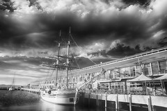 Lady Nelson (zenseas) Tags: ladynelson ir infrared blackandwhite monochrome hobart tasmania australia digitalinfrared skies clouds stormy sullivanscove dock pier sailboat httpwwwladynelsonorgau somersetonthepier sailing sky yacht docked harbor