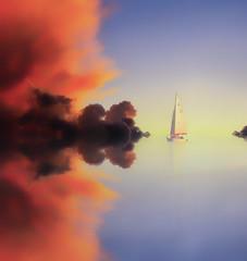 Orizzonte (Gio guarda le stelle) Tags: seascape sail sailing horizon artwork fake clouds sky atmosphere quiete mare viaggio voyage navigare orizzonte infinito