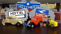 French civilian vehicles (Rebla) Tags: lego rebla peugeot 202 simca 5 tricycle triporteur car vehicle