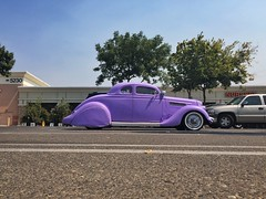 No Shrinking Violet (misterbigidea) Tags: americana coupe packard ironmistress beauty urban streetview notshy bluesky parkinglot parked hotrod hotwheels vintage funky westcoastcustoms violet flashy car custom purple 1940s pimping explore