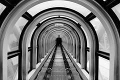 Umeda Sky Building escalator: part 2 (jbarry5) Tags: umedaskybuildingescalator umedasky umedaskybuilding osaka japan floatinggardenobservatory travelphotography travel monochrome blackandwhite geometry abstract repetition